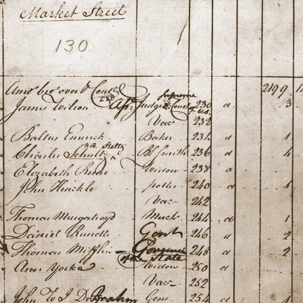 Page from 1790 census-parchment with black cursive writing
