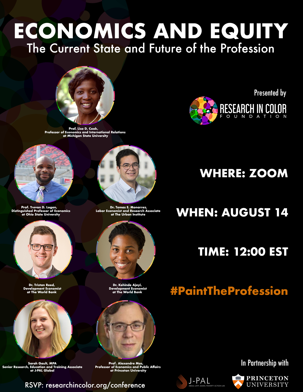 Conference flyer: Economics and Equity: the current state and future of the profession: August 14, 2020 at 12pm EST via Zoom. Includes photos of speakers.