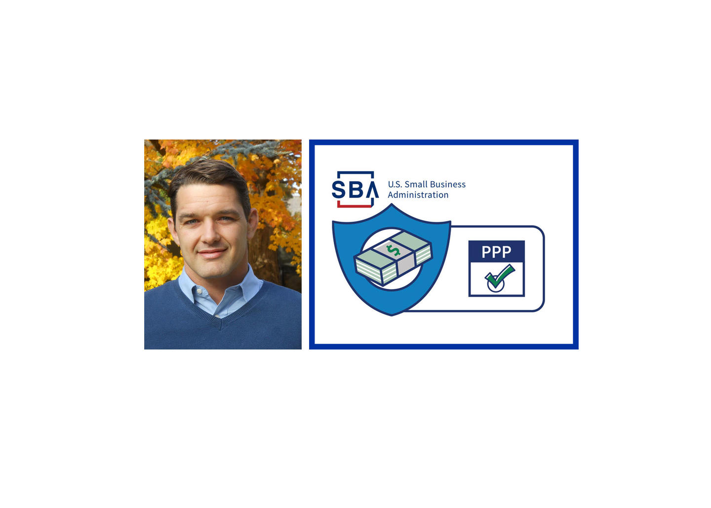 Headshot of Christoper Neilson with SBA and Payroll Protection Program logos